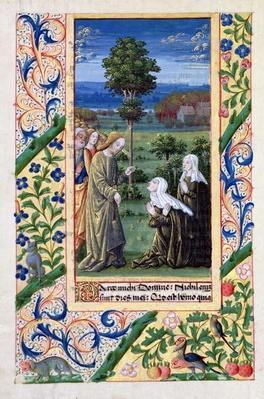 Ms Lat. Q.v.I.126 f.69v Martha and Mary telling Jesus of the death of Lazarus, from the 'Book of Hours of Louis d'Orleans', 1469
