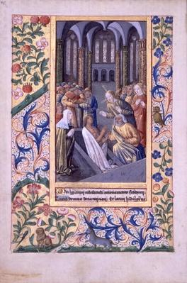 Ms Lat. Q.v.I.126 f.70v Raising of Lazarus, from the 'Book of Hours of Louis d'Orleans', 1469