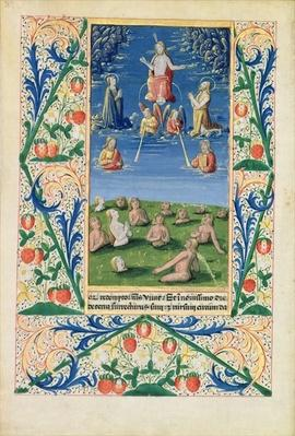 Ms Lat. Q.v.I.126 f.78v Resurrection of the Saved, from the 'Book of Hours of Louis d'Orleans', 1469