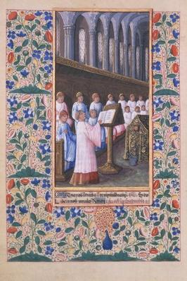 Ms Lat. Q.v.I.126 f.77v Illustration of a funeral service, from the 'Book of Hours of Louis d'Orleans', 1469