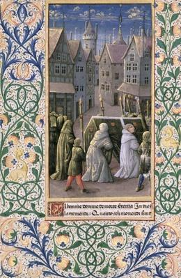 Ms Lat. Q.v.I.126 f.79v Burial procession, from the 'Book of Hours of Louis d'Orleans', 1469