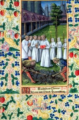 Ms Lat. Q.v.I.126 f.80v A burial, from the 'Book of Hours of Louis d'Orleans', 1469