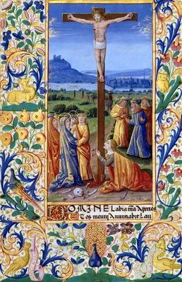 Ms Lat. Q.v.I.126 f.84v The Crucifixion, from the 'Book of Hours of Louis d'Orleans', 1469