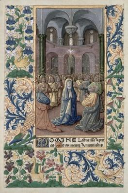 Ms Lat. Q.v.I.126 f.86v Pentecost, from the 'Book of Hours of Louis d'Orleans', 1469