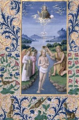 Ms Lat. Q.v.I.126 f.88v Baptism of Christ, from the 'Book of Hours of Louis d'Orleans', 1469