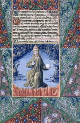 Ms Lat. Q.v.I.126 f.89 Christ in Majesty, from the 'Book of Hours of Louis d'Orleans', 1469