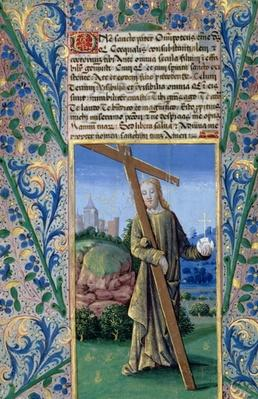 Ms Lat. Q.v.I.126 f.89v Christ with the Cross and the orb, from the 'Book of Hours of Louis d'Orleans', 1469