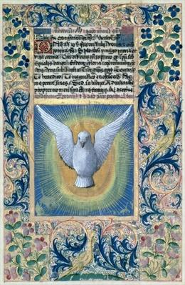 Ms Lat. Q.v.I.126 f.90 The Holy Spirit, from the 'Book of Hours of Louis d'Orleans', 1469