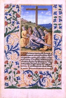 Ms Lat. Q.v.I.126 f.91v The Lamentation, from the 'Book of Hours of Louis d'Orleans', 1469