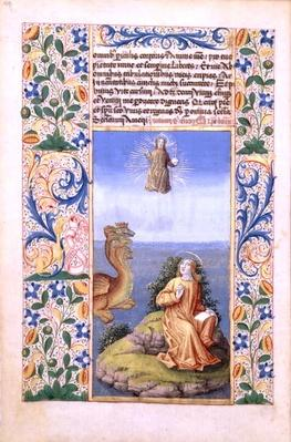 Ms Lat. Q.v.I.126 f.96v St. John the Evangelist on the Island of Patmos, from the 'Book of Hours of Louis d'Orleans', 1469