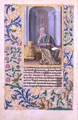 Ms Lat. Q.v.I.126 f.98v St. Mark, from the 'Book of Hours of Louis d'Orleans', 1469