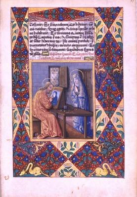 Ms Lat. Q.v.I.126 f.99 St. Luke painting the Virgin Mary, from the 'Book of Hours of Louis d'Orleans', 1469