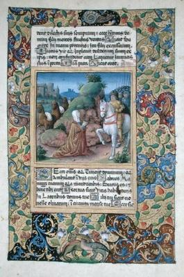 Ms Lat. Q.v.I.126 f.35 The meeting of Abigail and David, from the 'Book of Hours of Louis d'Orleans', 1490