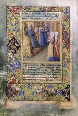 Ms Lat. Q.v.I.126 f.36v The Wisdom of Solomon, from the 'Book of Hours of Louis d'Orleans', 1490