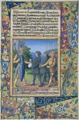 Ms Lat. Q.v.I.126 f.37 King Solomon's subjects bringing tribute, from the 'Book of Hours of Louis d'Orleans', 1490