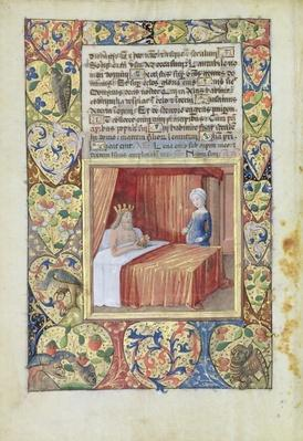 Ms Lat. Q.v.I.126 f.37v A king lying in bed, from the 'Book of Hours of Louis d'Orleans', 1490