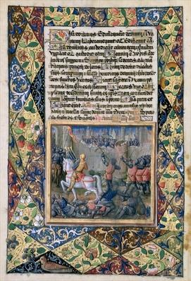 Ms Lat. Q.v.I.126 f.38v Rehoboam waging war against Jeroboam, from the 'Book of Hours of Louis d'Orleans', 1490