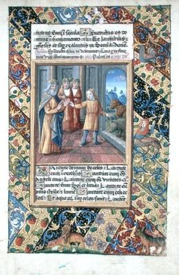 Ms Lat. Q.v.I.126 f.22 Joseph interpreting the Pharaoh's dreams, from the 'Book of Hours of Louis d'Orleans', 1490