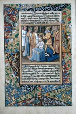 Ms Lat. Q.v.I.126 f.32v David being crowned, from the 'Book of Hours of Louis d'Orleans', 1490