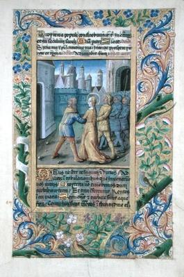 Ms Lat. Q.v.I.126 f.45 Judith being seized by the Assyrians, from the 'Book of Hours of Louis d'Orleans', 1490