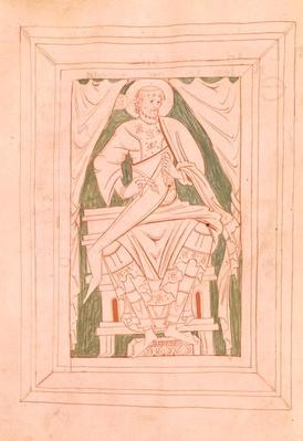 Ms 103 Frontispiece depicting St. Gregory the Great