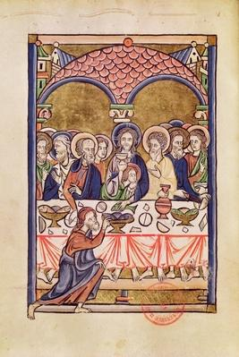 Ms 1273 fol.12v The Last Supper, from a Psalter