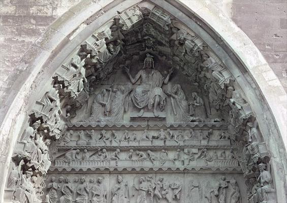 Tympanum from the left portal of the north transept depicting the Last Judgement, 1225-40