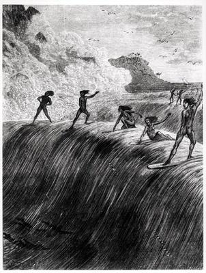 Natives Surfing in the Sandwich Islands