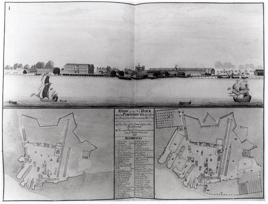 View of the Dockyard at Portsmouth in 1688, 1698 and 1774