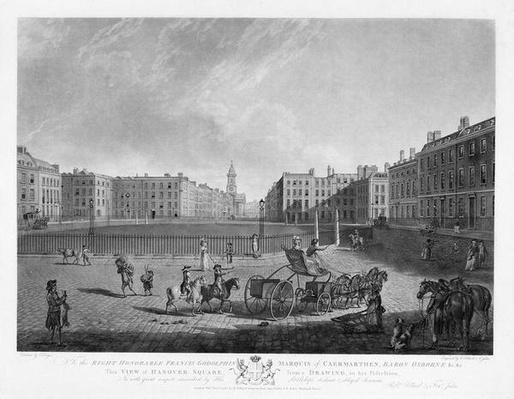 Hanover Square, from a set of four views of London squares, engraved by Robert Pollard