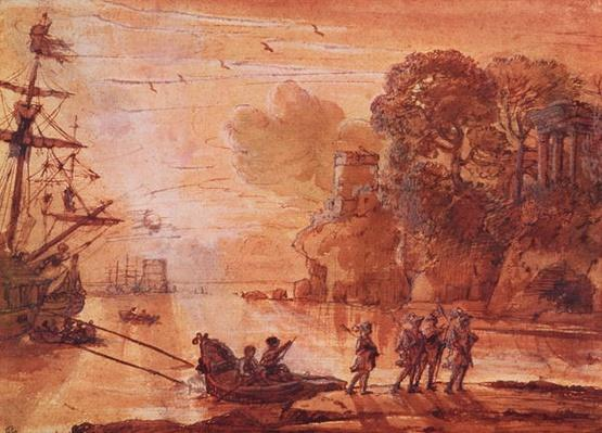 The Disembarkation of Warriors in a Port, possibly Aeneas in Latium, 1660-65