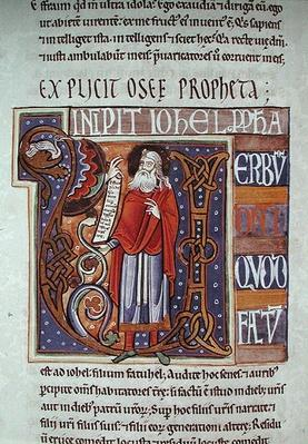 Ms 1 fol.193v Historiated initial 'U' depicting Joel, from the Souvigny Bible