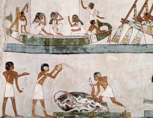 Sacrifice and purification of a bull, and a sailing ritual, from the Tomb of Menna, New Kingdom
