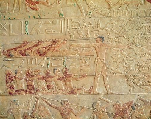 Relief depicting men exercising, from the Mastaba of Ptah-Hotep and Akhti-Hotep, Old Kingdom