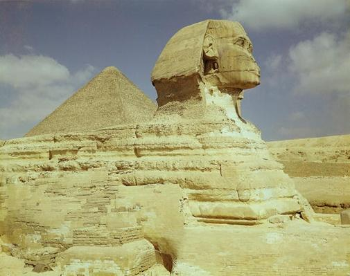 The Sphinx and The Great Pyramid of Khufu at Giza, Old Kingdom, c.2613-2494 BC