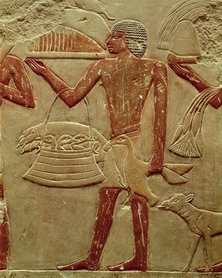 Relief depicting a porter with a basket of fledglings, from the Tomb of Princess Idut, Old Kingdom, c.2330 BC