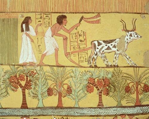 Sennedjem and his wife in the fields sowing and tilling, from the Tomb of Sennedjem, The Workers' Village, New Kingdom
