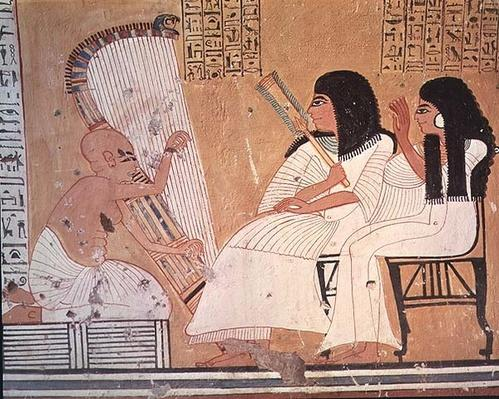 The deceased and his wife listening to a blind harpist, from the Tomb of Ankerkhe, Workmen's Tombs, New Kingdom