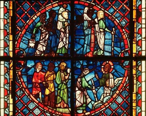 Window from the Chapel of the Virgin depicting the Israelites in the Desert and Moses on Mount Sinai, c.1240-50