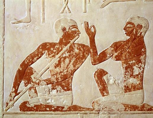 Painted relief depicting a flute player and a singer at a funerary banquet, from the Tomb of Nenkhefetka, Saqqarah, Old Kingdom, c.2400 BC