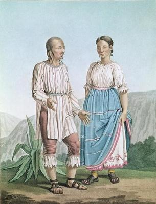 Costumes of the Indians of Michouacan, from 'Voyages aux Regions Equinoxiales du Nouveau Continent' by Alexander von Humboldt