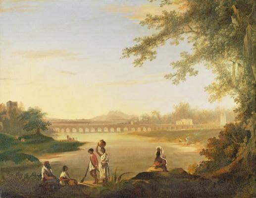 The Marmalong Bridge, with a Sepoy and Natives in the Foreground, c.1783