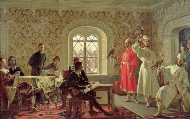 The Italian Ambassador Calvuci drawing the falcons of Tsar Alexei Mikhailovich