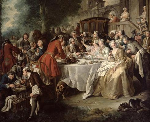 The Hunt Lunch, detail of the diners, 1737