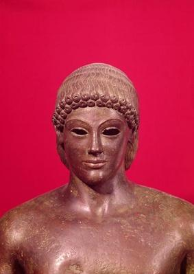 The Apollo of Piombino, detail of the head of the statue, found in Benevento, Greek, c.480 BC