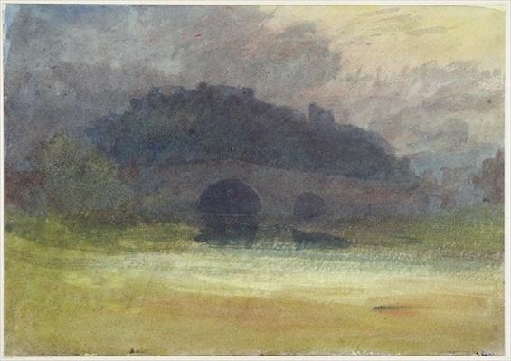 Evening Landscape with Castle and Bridge in Yorkshire, c.1798-99