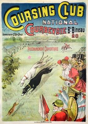 Poster advertising the opening of the Coursing Club at Courbevoie