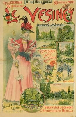 Poster for the Chemins de Fer de l'Ouest to Le Vesinet, c.1895-1900