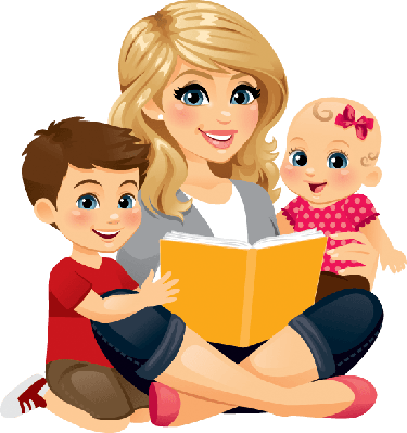 Mom Reading With Children 2 | Clipart