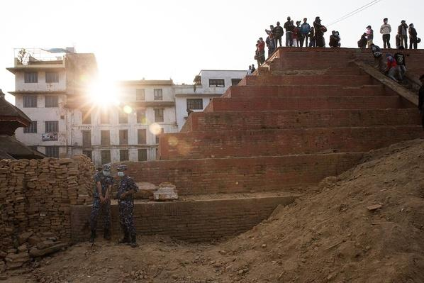 Soldiers Stand Guard in the Ruins of Durbar Square | Global Oneness Project